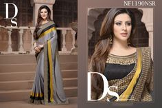 #Gorgeous #Grey #Saree #With #Stripes #For #The #Poised #Personalities $97.27 www.fashionumang.com