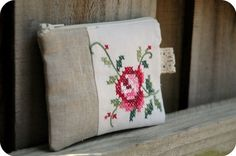 coin purse with vintage embroidery