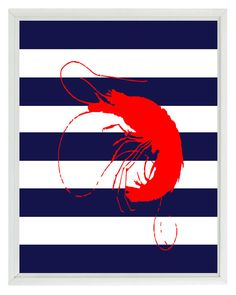 Shrimp Art Print Set  Beach Nautical Sea by RizzleandRugee on Etsy, $15.00