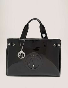 black Armani Jeans Patent Shopper