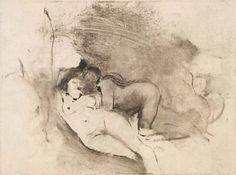 Edgar Degas Two Women c. 1876-1877 monotype in black ink on light tan paper