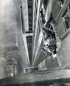 A B-25 bomber crashes into the Empire State Building on the morning of July 28, 1945.