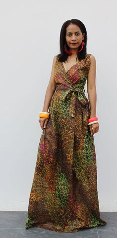 Maxi Dress Cross Over front Peacock Print   Boho Summer by Nuichan, $58.00