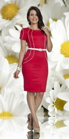 Vestido Vermelho - Bella Herança - Moda Evangélica e Roupa Evangélica: Bela Loba