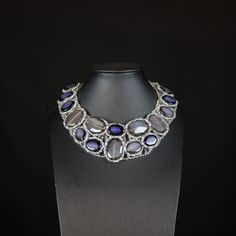 Necklace with large chunks of smoky grey & blue-black semiprecious agate, clear and silver crystals. Statement, gemstone, handmade, unique. by Menir on Etsy