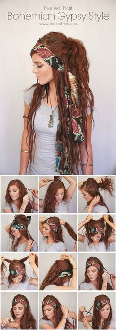 Festival Hair Tutorials - BOHEMIAN GYPSY STYLE - Short Quick and Easy Tutorial Guides and How Tos for Braids, Curly Hair, Long Hair, Medium Hair, and that Perfect Updo - Great Ideas for That Summer Music Edm Show, Whether It's A New Hair Color or Some Awesome Accessories and Flowers - Boho and Bohemian Styles with Glitter and a Headband - thegoddess.com/festival-hair-tutorials