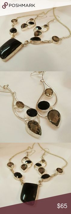 Necklace and earring set Onyx and Smoky topaz set in 925 sterling silver.  Necklace is adjustable 18-20 inches. Earrings are 3 lightweight inches. NWOT Robin's Nest Jewels  Jewelry Necklaces