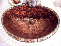 Penny Decor, Copper Bathroom, Penny Tile, Coin Art, Copper Penny, Diy Home Improvement, Home Projects, Decorative Bowls, Diy Home Decor