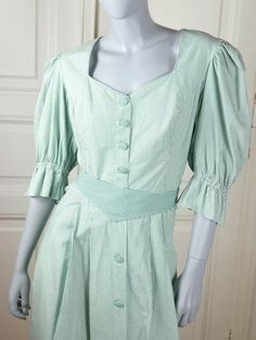 Austrian Vintage Trachten Dress, Green White Stripes Belted Traditional Alpen Dress, European Cotton Prairie Dress: Size 10 US, Size 14 UK by YouLookAmazing on Etsy