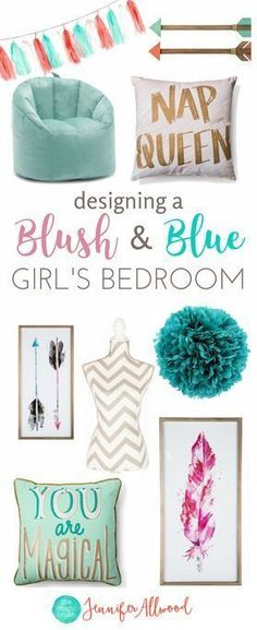 How to design a tween girls bedroom | Blush & Blue Girls Bedroom by Jennifer Allwood - Girls Bedroom Decorating Ideas (1) #kidsbedroomfurniture