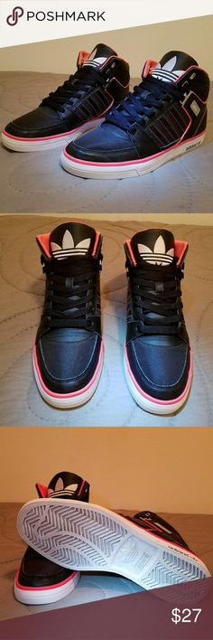 7d32c156efa Adidas Classic High Top Sneakers Mens Size 9.5 Black white Coral Adidas  High top