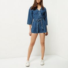 Mid blue wash denim kimono playsuit