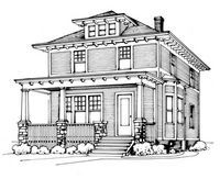 Architectural and interior details of the American Foursquare.