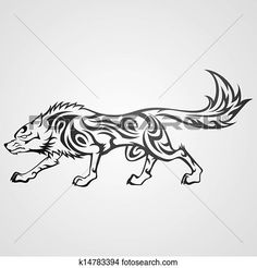 Tribal wolf View Large Clip Art Graphic