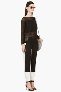 HELMUT LANG Black Semi-sheer Linear Degrade Sweater