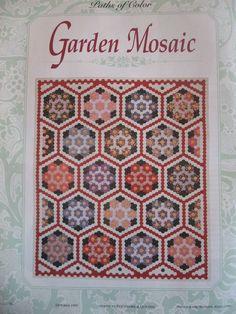 Garden Mosaic Grandmothers Flower Garden Quilt Pattern Paper Pieced Hexagons #AmericanPatchworkQuilting