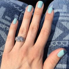 Loving this gorgeous three stone halo engagement ring shared by @5kykristiii!