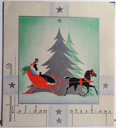 30s Art Deco Sleigh Ride Vintage Christmas Card. BEAUTIFUL lettering!!