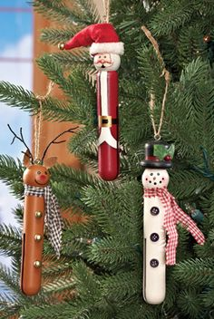 Clothespin Christmas Ornaments - Set of 3