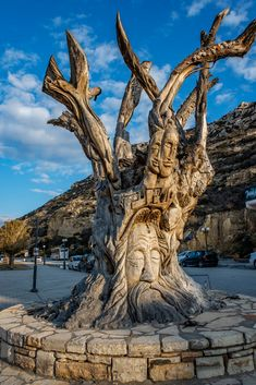 Tree sculpture, Matala, Crete, Greece by Spyros Stefanakis, a Cretan artist