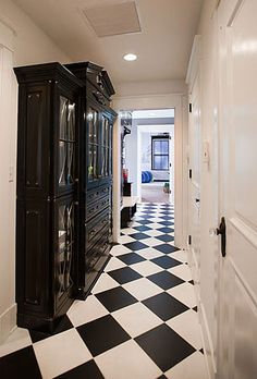 Classic Black and White tiled hall