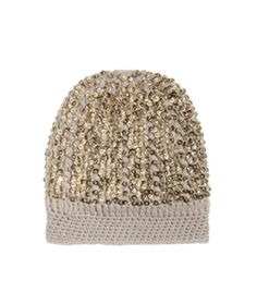 Cashmere Sequin Hat by Madeleine Thompson. Chunky-knit oatmeal beige cashmere hat with a gold sequin embellishment and plain cable-knit band. #Matchesfashion