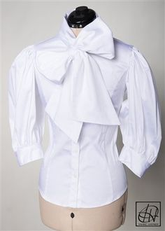 White Stretch Cotton Bow Blouse.  Tawni Haynes.