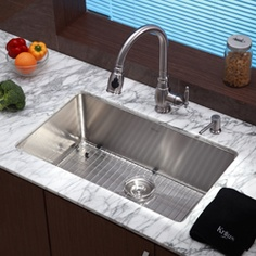 "Kraus 30-inch Undermount Single Bowl Stainless Steel Kitchen Sink (fits 30"" base cabinet). $370."