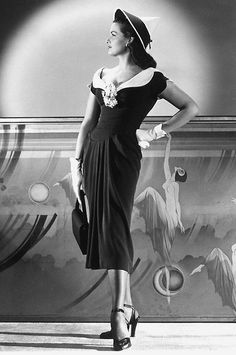 Jane Russell - Classy! An example of how most women wore gloves and hats when going to special events such weddings, funerals, Easter Parade (church, etc.), tea rooms and so forth.