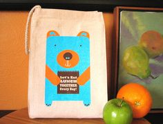 Eco-friendly Lunch Bear! Our reusable lunch bag made from 100% recycled cotton, by strawberryluna, $18.00