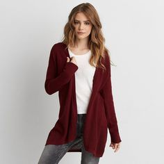 AEO Open Stitch Cardigan (£31) ❤ liked on Polyvore featuring tops, cardigans, maroon, open knit cardigan, cardigan top, maroon top, open front cardigan and open knit top