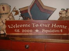 Welcome To Our Home Established Population Personalized Country Primitive Rustic Sign