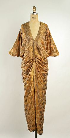 Silk brocade tea gown by Callot Soeurs, French, late 1920's.