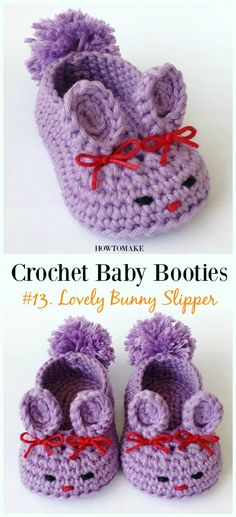 Baby Booties Free Crochet Patterns - Lovely Bunny Slipper Crochet Free Pattern - Baby Free Patterns Source by howtomakes. Crochet Baby Blanket Beginner, Baby Girl Crochet, Crochet Baby Shoes, Crochet Baby Clothes, Newborn Crochet, Crochet For Kids, Crochet Baby Stuff, Booties Crochet, Crochet Slippers