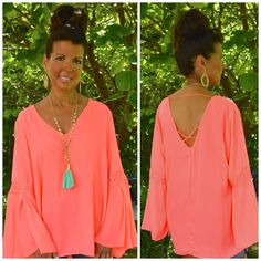 Umgee Plus Size BOHO V-Neck Tunic -Top Blouse BELL SLEEVES Neon Coral XL 1X 2X  #UmgeeUSA #Top