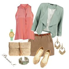 khaki skirt, created by bonnaroosky on Polyvore  Cute outfit, and with a much longer skirt it will be just right for work