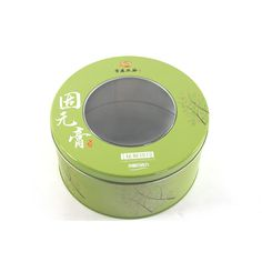 This printed round metal tin box looks good and feels good. It has a window lid and very suitable for packing food, such as biscuit,cookies,bakery.