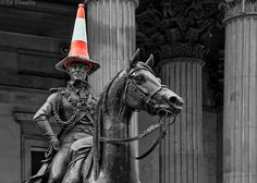 Duke of Wellington Statue with Traffic Cone as per usual, Glasgow. The police take the traffic cone down, it is replaced within hours. Proud to say this is my birthplace.