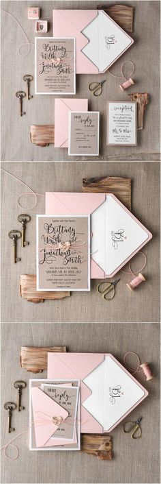 Rustic country blush pink wedding invitations @4LOVEPolkaDots