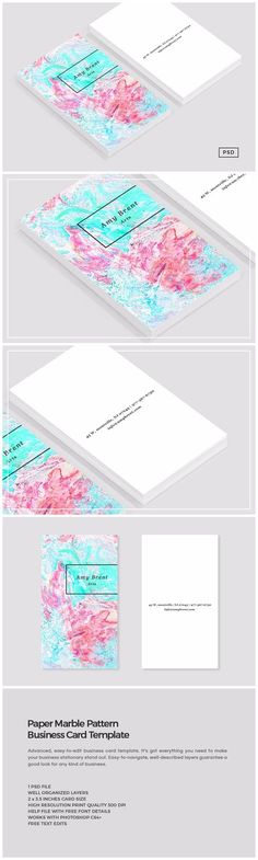 Paper Marble Pattern Business Card by Design Co. on @creativemarket