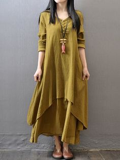 Shop Dresses - Yellow V Neck Solid Tiered Long Sleeve Dress online. Discover unique designers fashion at PopJuLia.com.