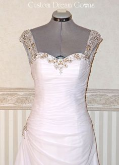 New A-Line Wedding Dress: Chic Chiffon & Crystal Beaded A-Line Gown with Crystal Beaded Sweetheart Necklin