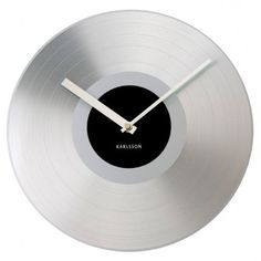Present Time UK Karlsson Wall Clock Platinum Record Aluminium Silver Record Clock, Record Wall, Wall Watch, Carpets Online, Wall Clock Online, Wall Clock Design, Red Candy, High Fashion Home, Modern Retro