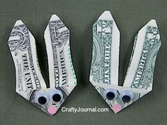 This is a wonderful idea for an Easter basket, or to give older ki… Bunny-money! This is a wonderful idea for an Easter basket, or to give older kids who feel they are too old for Easter baskets. Hoppy Easter, Easter Bunny, Easter Eggs, Easter Food, Easter Table, Holiday Crafts, Holiday Fun, Holiday Ideas, Spring Crafts