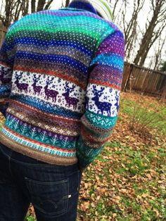 Купить Мужской свитер с оленями. - орнамент, олени, жаккард, мужской свитер, норо, новогодний подарок