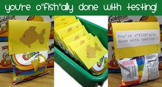 "You're O-""FISH""-ally done with testing!  Individual 12 pack boxes of Goldfish, cardstock and paper cutouts, fish cutouts (Cricut cartridge: Animal Kingdom, accent: fish)"