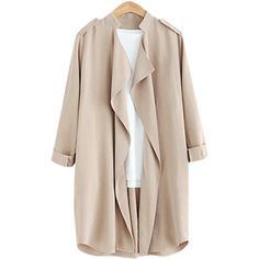Yoins Khaki Roll Up Button Closure Open-front Lapel Collar Outerwear (¥4,160) ❤ liked on Polyvore featuring outerwear, coats, jackets, coats & jackets, black, draped open front coat, drape collar coat, khaki wool coat, open front coat and wool coats