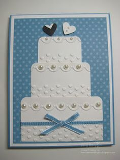 Wedding Cake Card with Adorning Accents Embossing Folders
