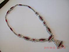 KRAMER New York Ruby Red & White Rhinestone Necklace by janjems