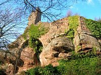 Château de Guirbaden (or Girbaden) is a ruined castle in the commune of Mollkirch in the Bas-Rhin département of France.  It is situated in the Guirbaden forest, near the village of Mollkirch on the left bank of the Magel River, at an altitude of 565 m. The castle covers a larger area than any other in Alsace. Dating from the 11th century, over more than 500 years it suffered several attacks, destructions and reconstructions.